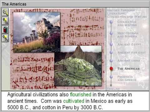 The Americas (Civilisation & Writing Part 6)  http://www.zaneeducation.com -   Learn some of the important events that happened in world history at the time of the first civilizations, between about 4000 and 600 B.C. Identify major literary forms used in ancient times, including epics, stories, songs, lyric poems, legends, and dramas. Identify elements of civilization--including agriculture, domestication of animals, division of labour, formation of classes in society.