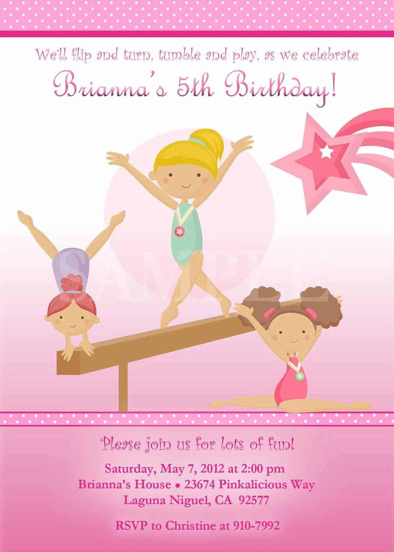 Gymnastics Birthday Invitations Free | Addie | Pinterest ...