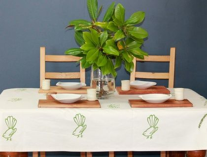 Green Fantail Tablecloth