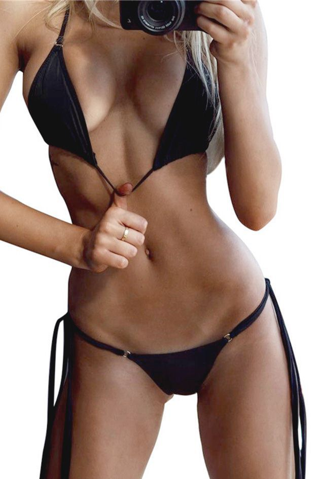 124c0fd8384 Women Triangle Halter Strappy String Cheeky Thong Sexy Two Piece Brazilian Bikini  Swimsuit - Black, S