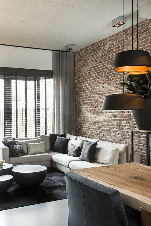 Haus Innenräume, Industrie Stil Wohnen, Steinwand, Zukünftiges Haus, Lofts, Industrieller  Stil