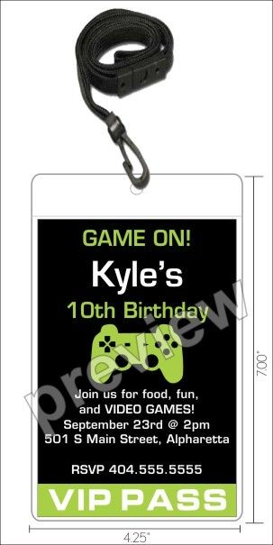 video game vip pass invitation with lanyard - select color, Party invitations