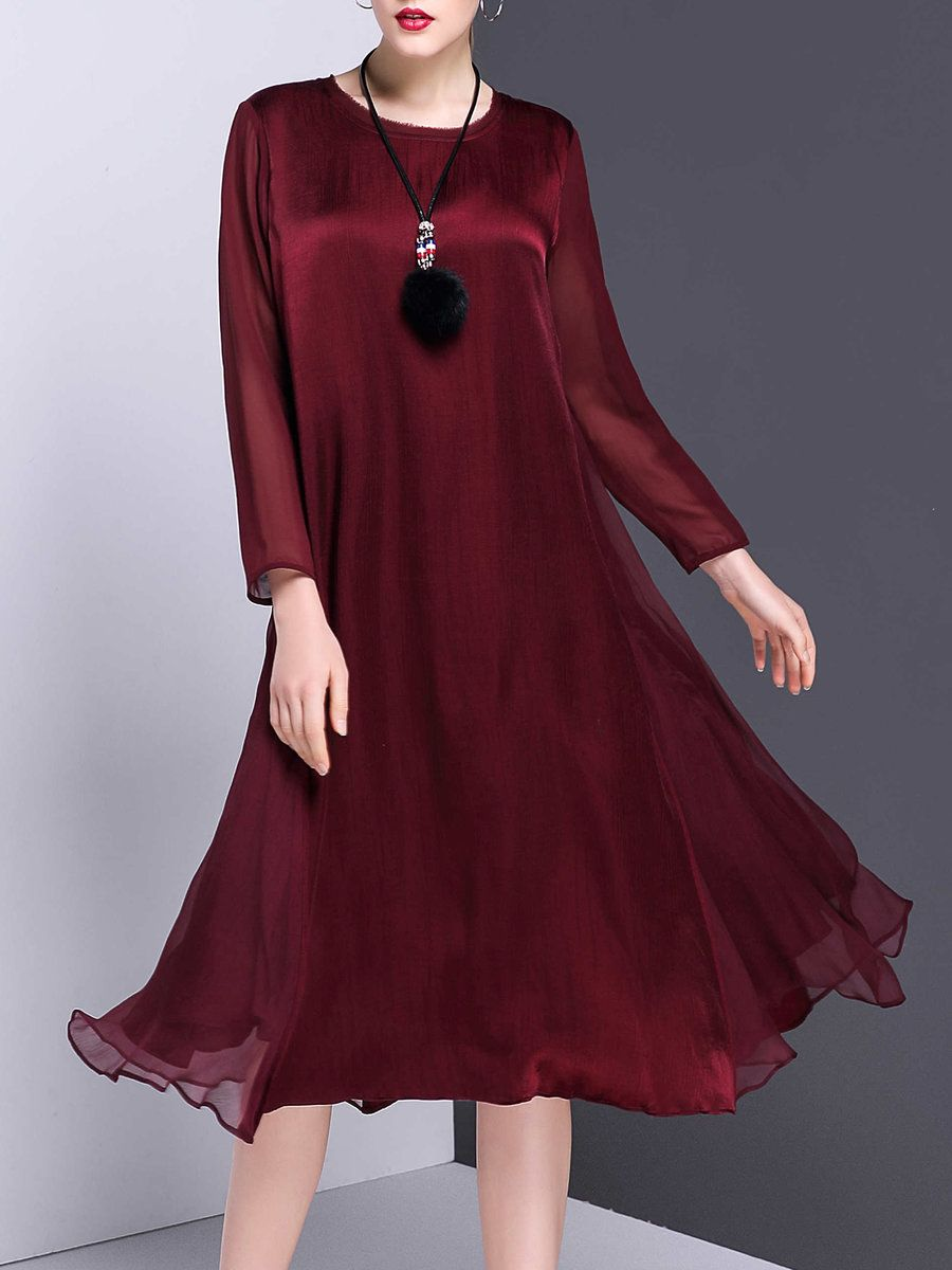 Adorewe stylewe midi dresses veinfuns solid swing casual silk long