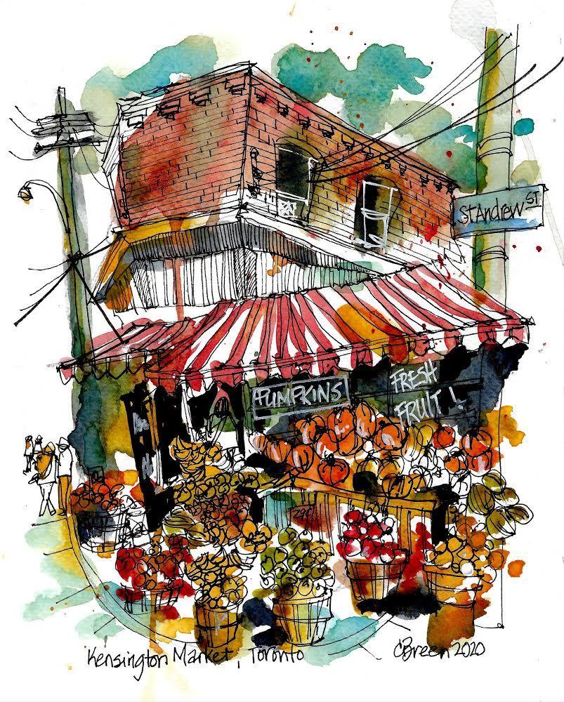 #torontolife #torontoart #kensingtonmarket #shoplocal #shopsmall #supportsmallbiz #fruitstand #urbansketchers #halloween #pumpkins #freshfruit #the6ix #416 #yyz #torontostreets #urban #art #sketch #sketchbook #drawdaily