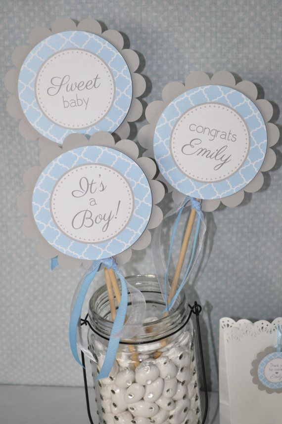 Boys Baby Shower Centerpiece Sticks It S A Boy Baby Shower Decorations Blue And Gray Boy Baby Shower Decorations Set Of 3 Baby Shower Decorations For Boys Baby Shower Centerpieces Baby Boy Shower
