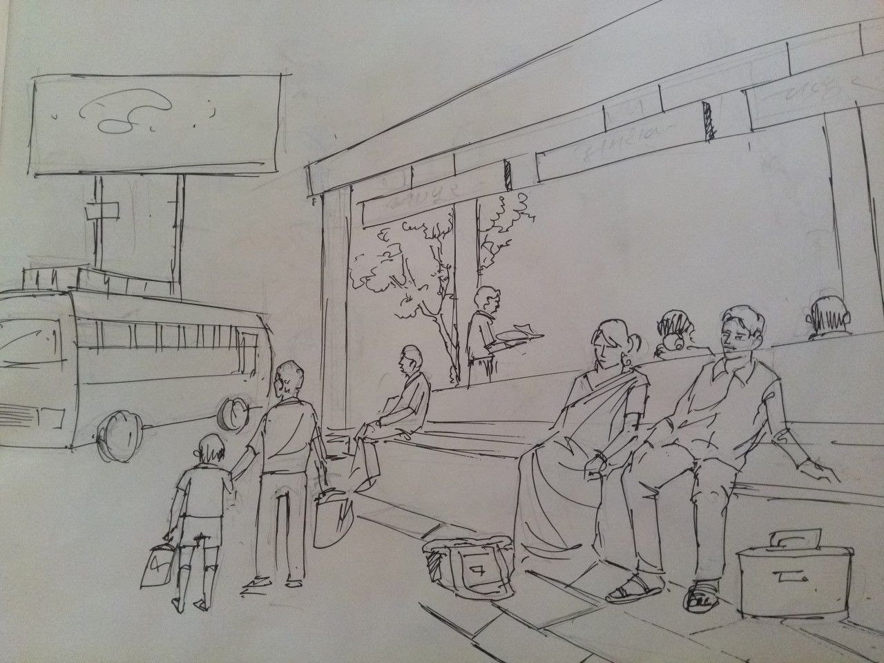 Bus Stand Sketch Sketch In 2019 Drawings Pencil Drawings Sketches