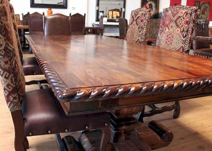 Copper Inlay Rope Edge Mesquite Dining Table Dining Table Rustic
