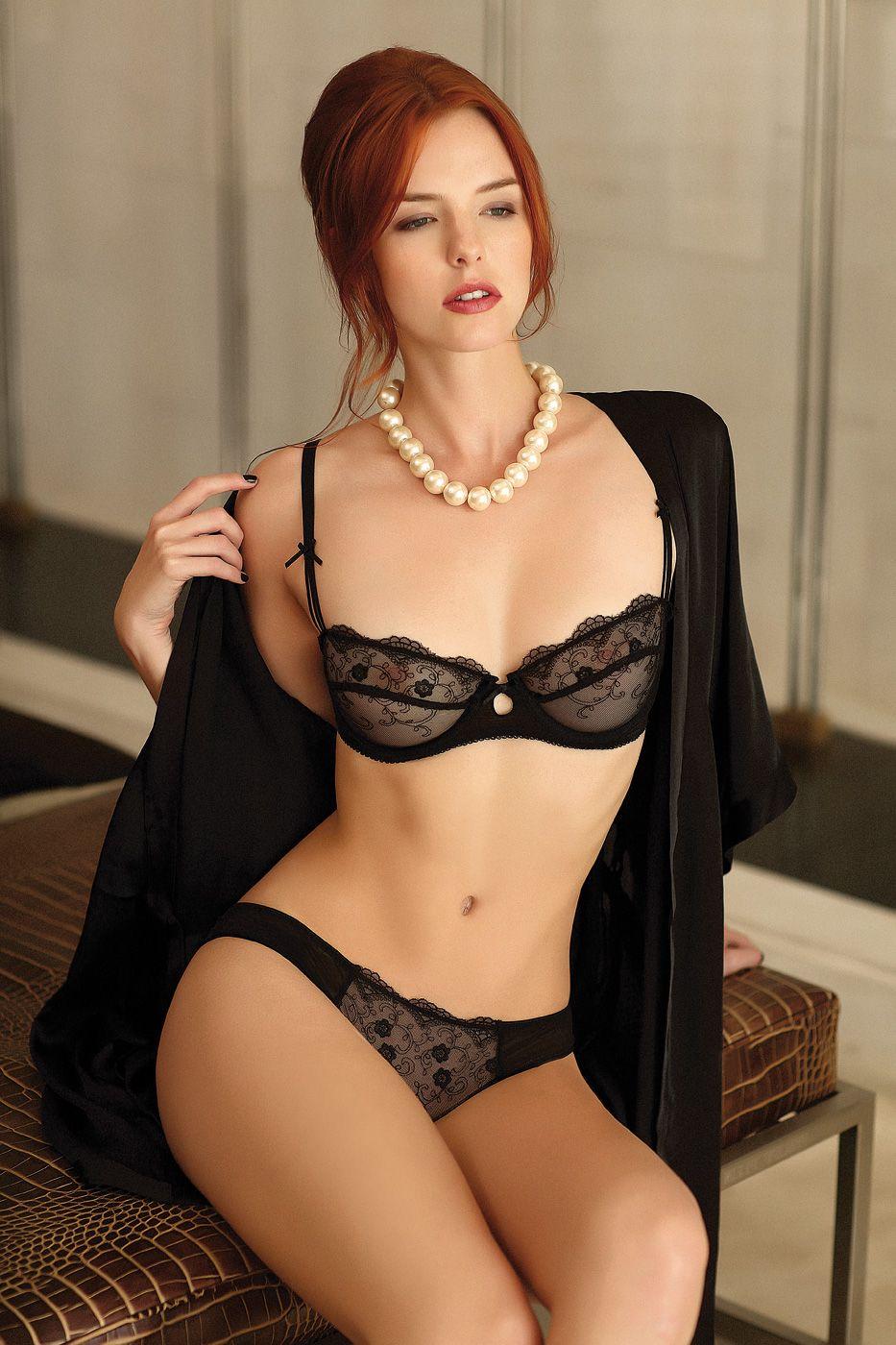 NELDA: Naughty redhead wearing lingerie classic