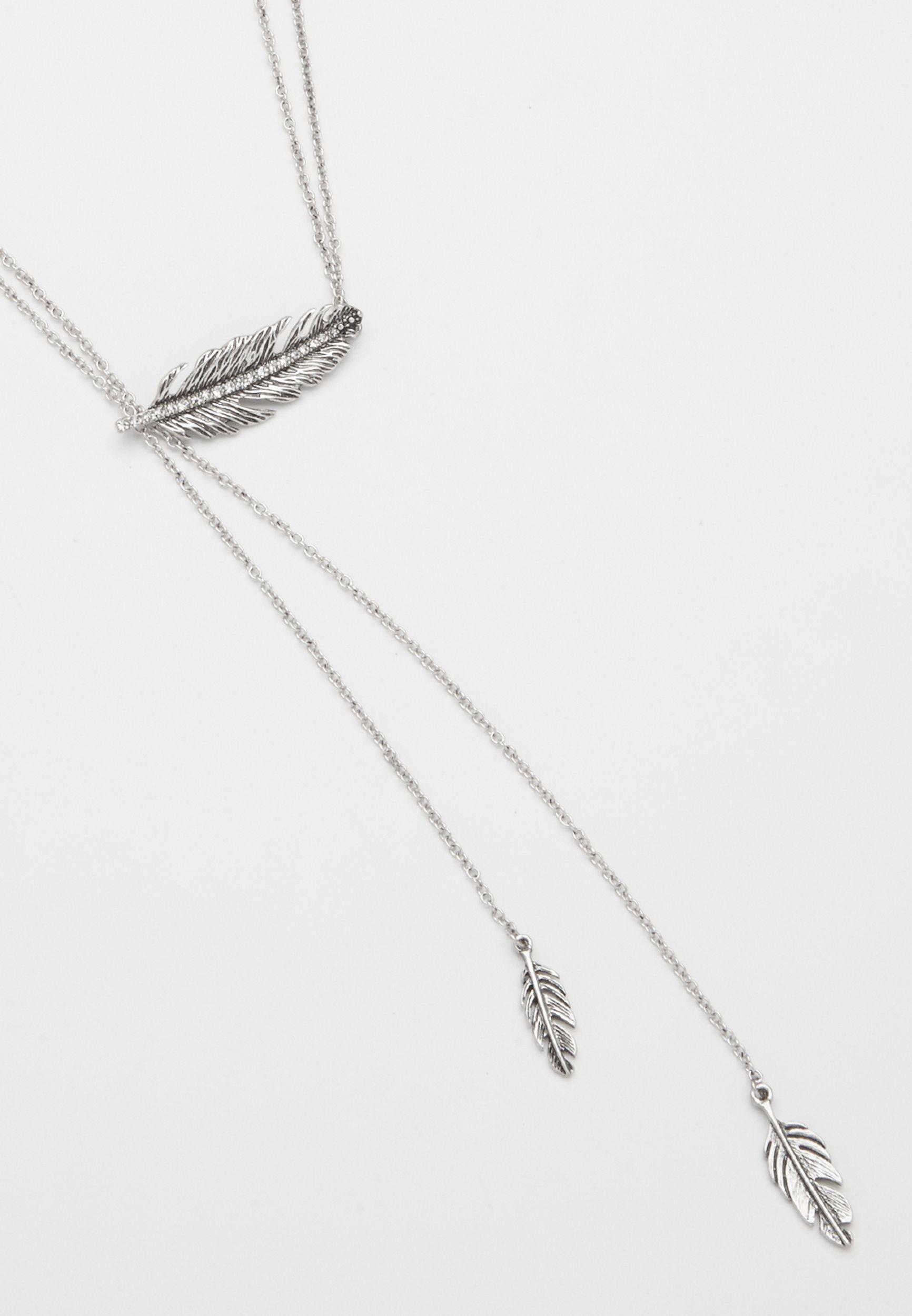 Maurices Rhinestone Feather Pendant Necklace vGU0qa1Ko