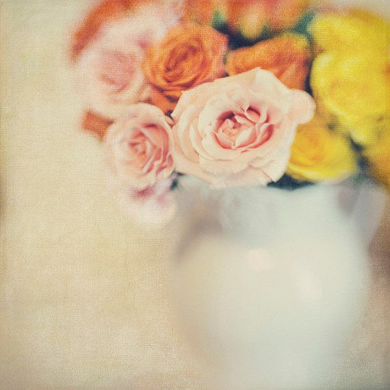 White Vase Roses 8x8 Photo Bokeh Modern by Gallery32Photography, $29.95 #TrinaBakerPhotography