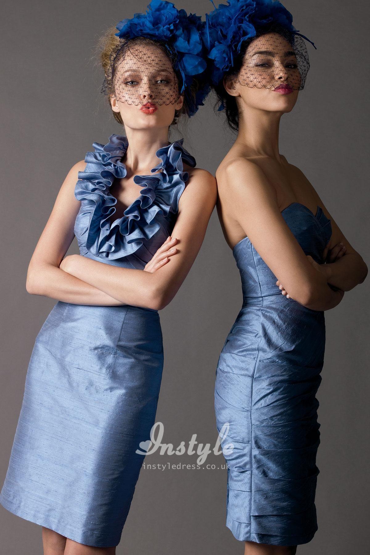 Blue dupioni sleeveless ruffled halter short dress uk with low back