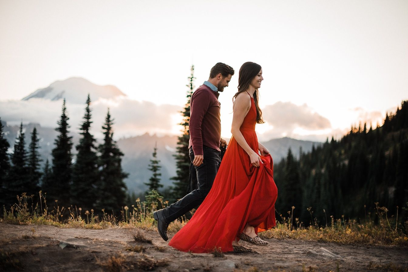Adventure Engagement Mt Rainier Red Dress Outfit Ideas For Shoot
