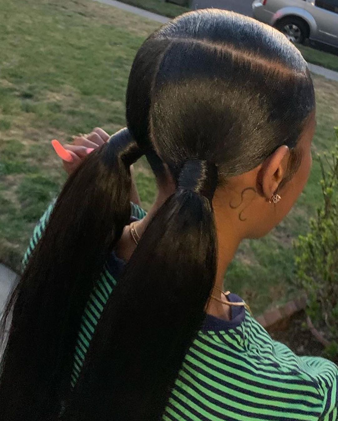 Cheap Great Virgin Human Wigs On Instagram Two Ponytails With Side Part Who Would Hair Ponytail Styles Two Ponytail Hairstyles Black Ponytail Hairstyles
