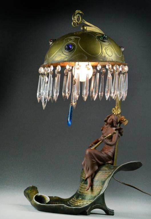 Art Nouveau Figural Spelter Table Lamp