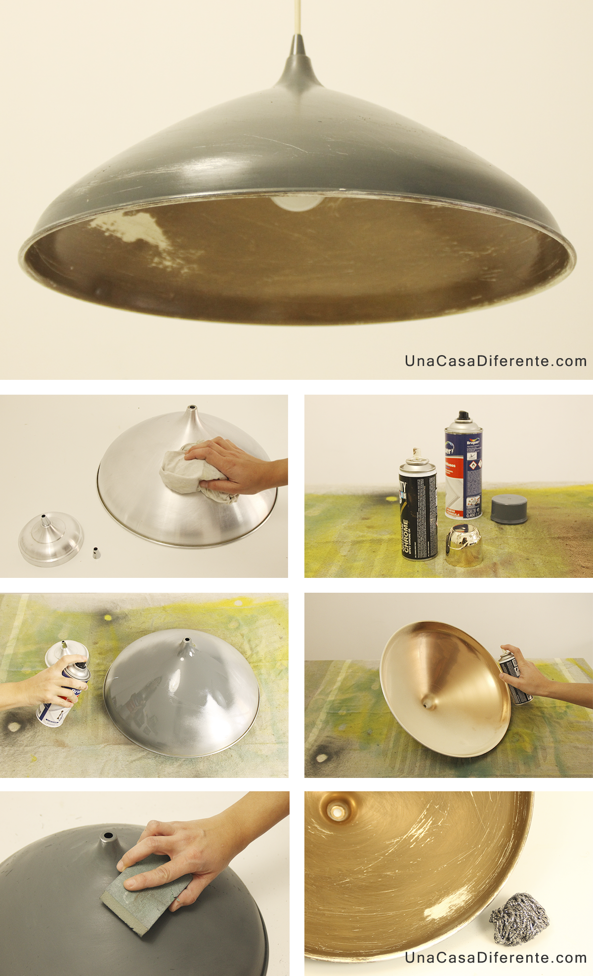 Como pintar lampara de metal spray diy lamp | ideas | Pinterest ...
