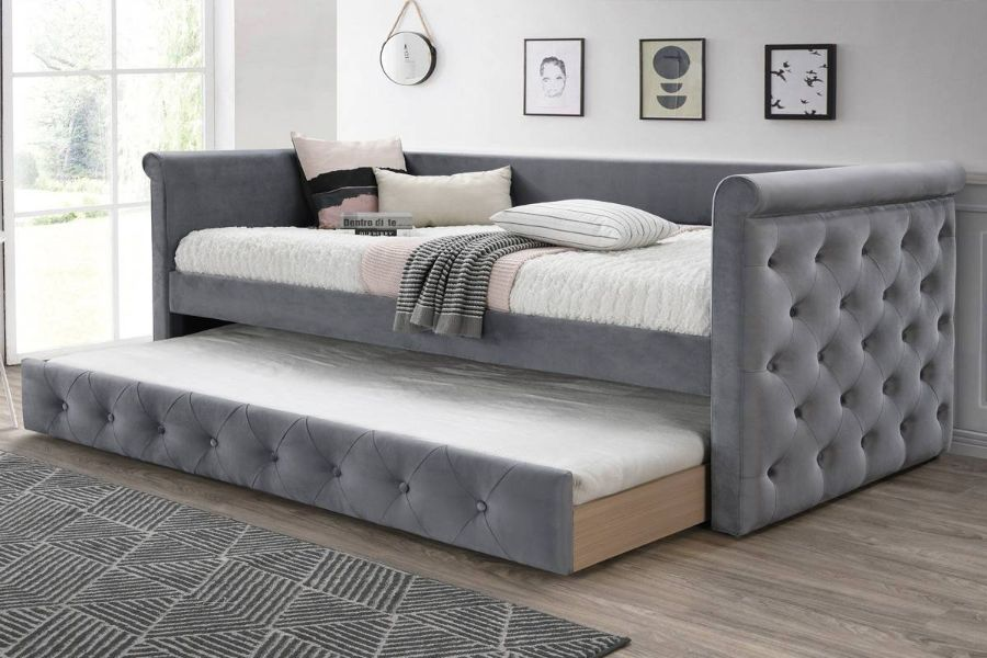 Poundex F9461 Aj Homes Studio Huntington Grey Fabric Padded Twin Size Day Bed With Pull Out Trundle In 2020 Daybed Bed Grey Fabric