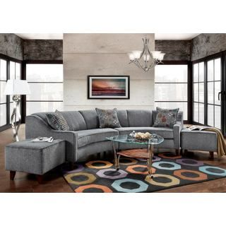 Sofa Trendz Bindel Grey Curved Sectional Sofa With Ottoman Set   Free  Shipping Today   Overstock.com   20474420