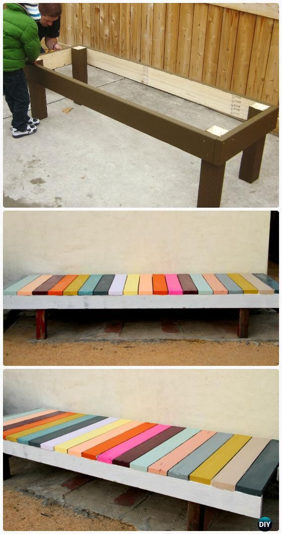 Diy Colorful Painted Garden Bench Instructions Outdoor Garden Bench Ideas Garden Bench Diy Outdoor Garden Bench Diy Garden Furniture