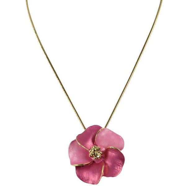 Pansy Fuchsia Pink Flower Pendant Necklace 36 Liked On