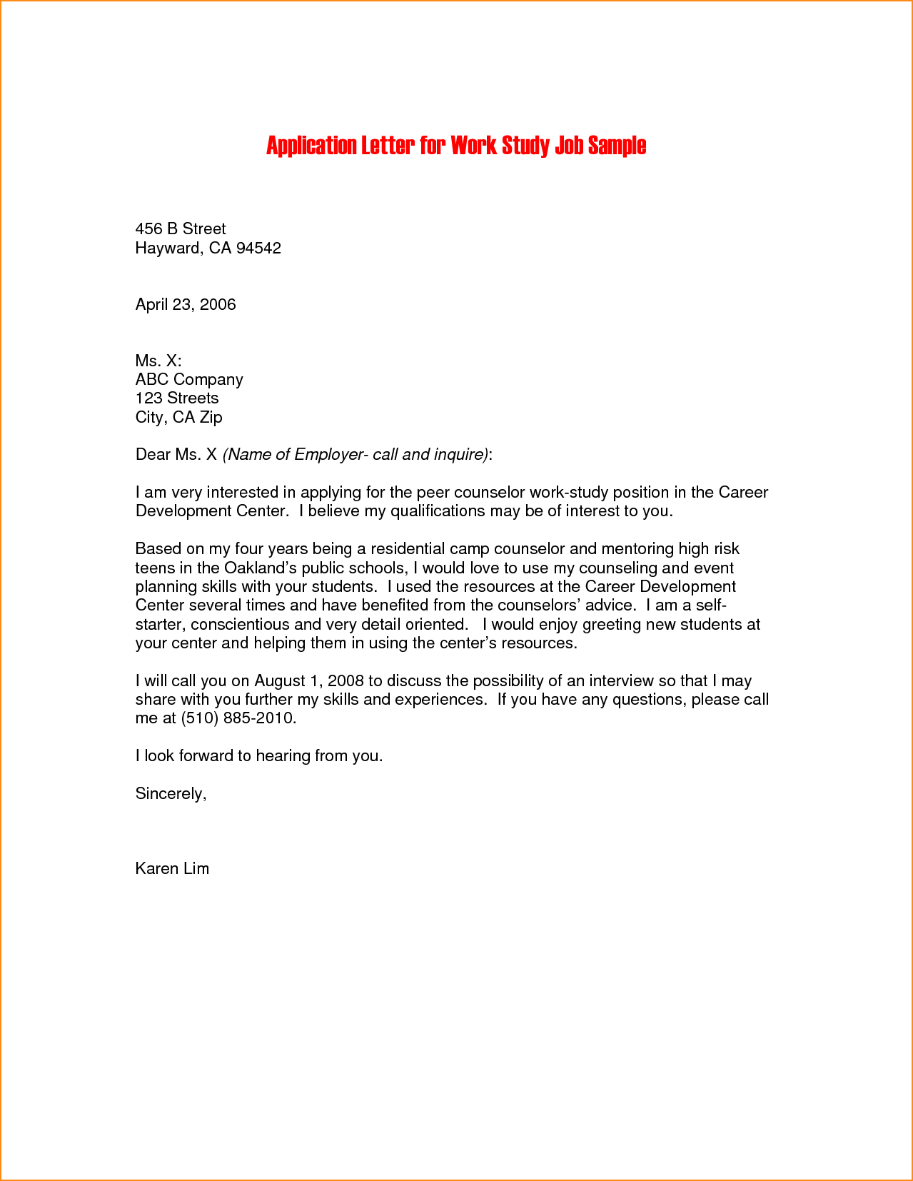 Internship Application Letter Sample Pdf Basic Job Appication