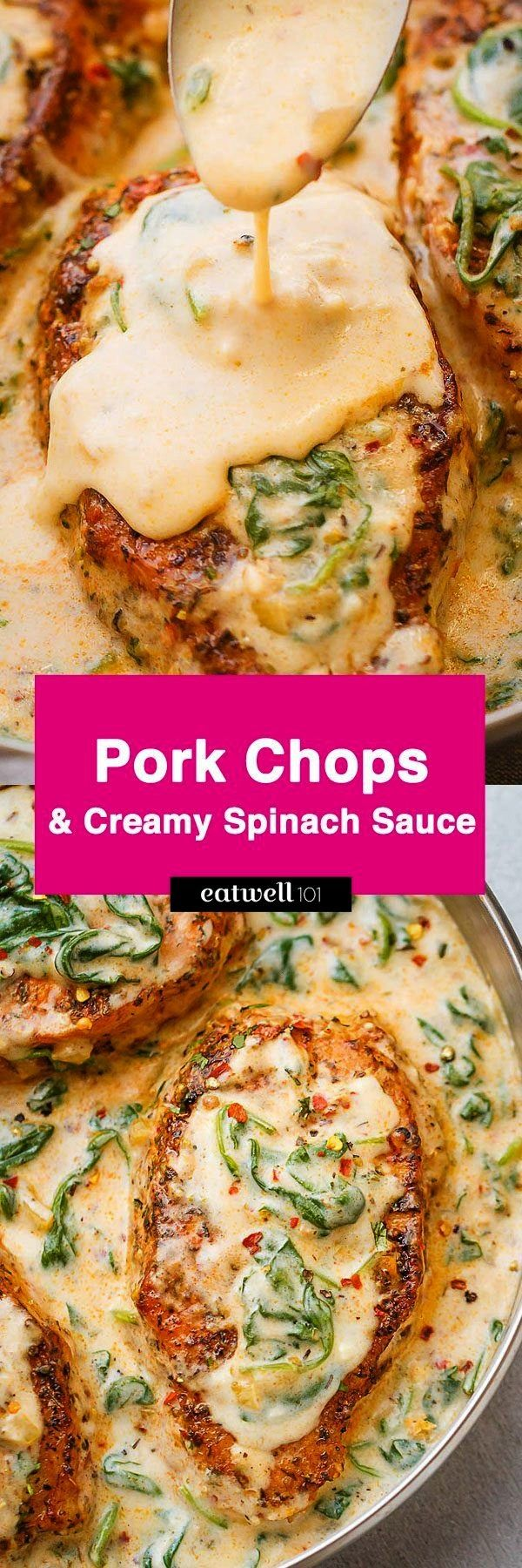 Pork Chops with Garlic Butter Spinach Sauce — Packed with flavor, a perfect meal for all of your