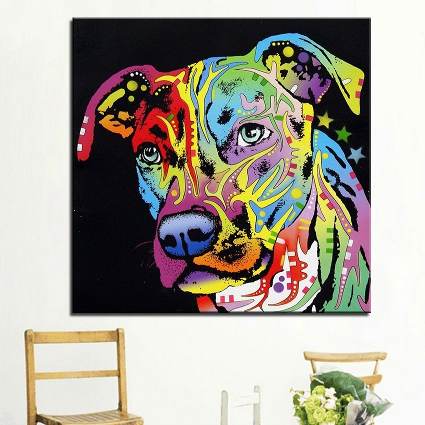 Pitbull Wall Art pitbull oil painting home decorative wall art picture for living