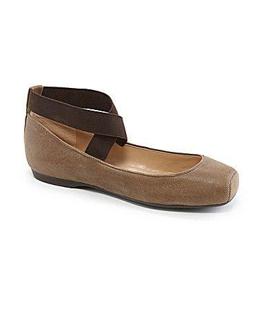Jessica Simpson Mandalaye Leather Square-Toe Criss Cross Ankle Straps Ballet Flats 4NLWnaE1A