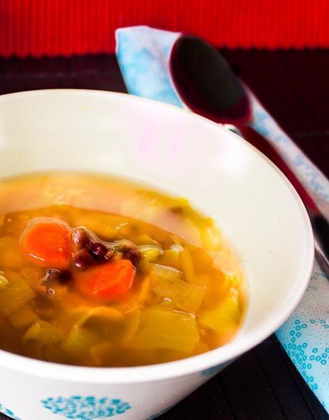 adzuki bean + cabbage soup