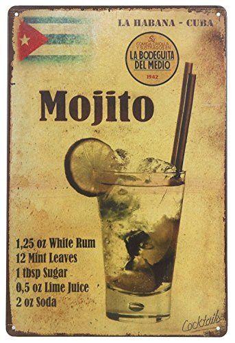 ERLOOD La Habana Cuba Mojito Drink Tin Sign Wall Retro Metal Bar Pub Poster Metal 12 X 8