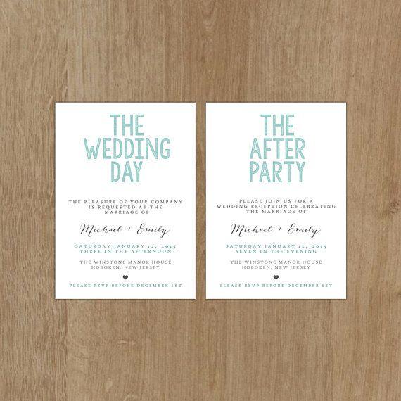 Printable Wedding Invitation Set Invitation Reception DIY