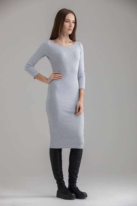 87b494c4491 Midi Dress , Bodycon Dress Casual Dress Sexy Dress Elegant Office Dress  Light Grey Fitted Dress Mot