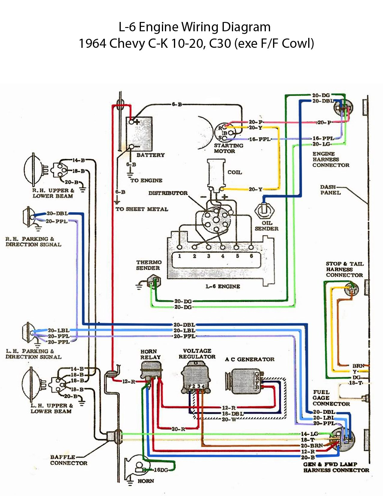 electric l 6 engine wiring diagram 60s chevy c10 wiring rh pinterest com 1963 chevy truck wiring harness 1960 Chevy C10 Wiring Harness