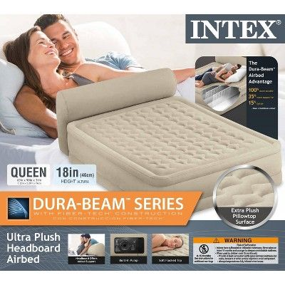 Intex Queen Ultra Plush Elevated DuraBeam Airbed with Built-In Pump /& Headboard