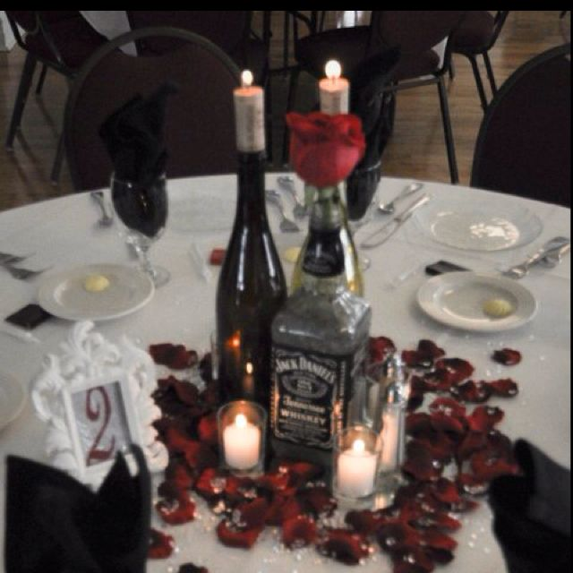 Our Wedding Centerpieces Using Wine Bottles And Jd Bottles