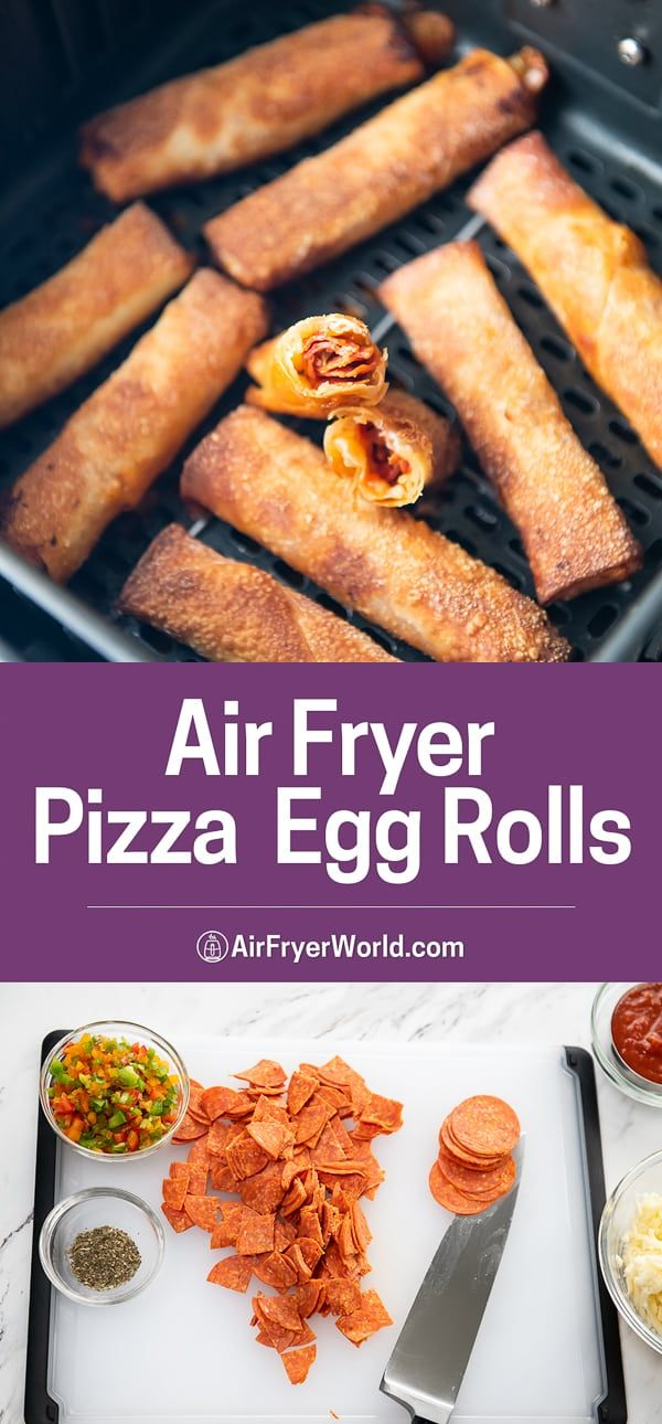 Air Fryer Pizza Egg Rolls with Pepperoni CRISPY EASY Air