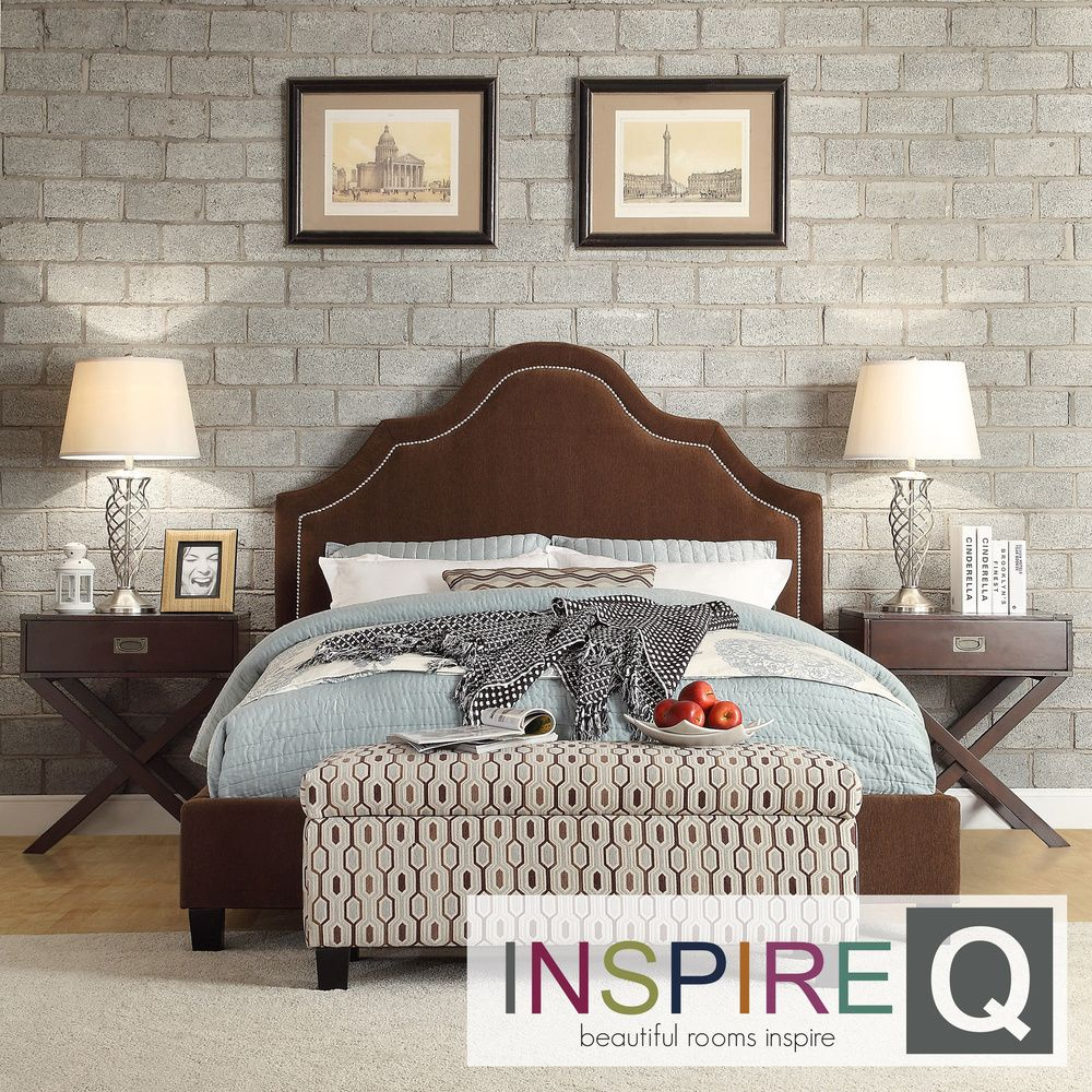 Esmeral King-Size Chocolate Chenille Nailhead Arch Curved Upholstered Bed |  Overstock.com Shopping