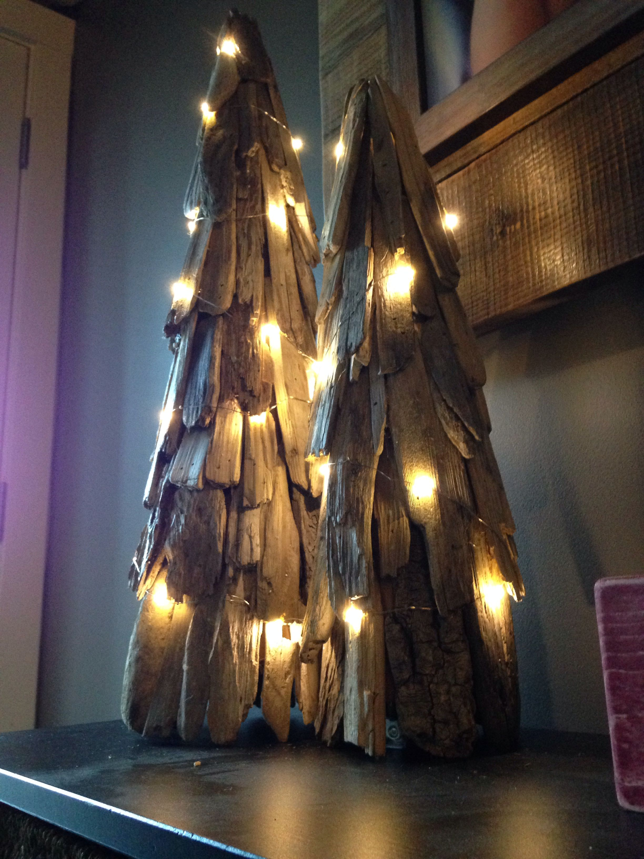 Driftwood Trees with dew drop LED copper wire lights