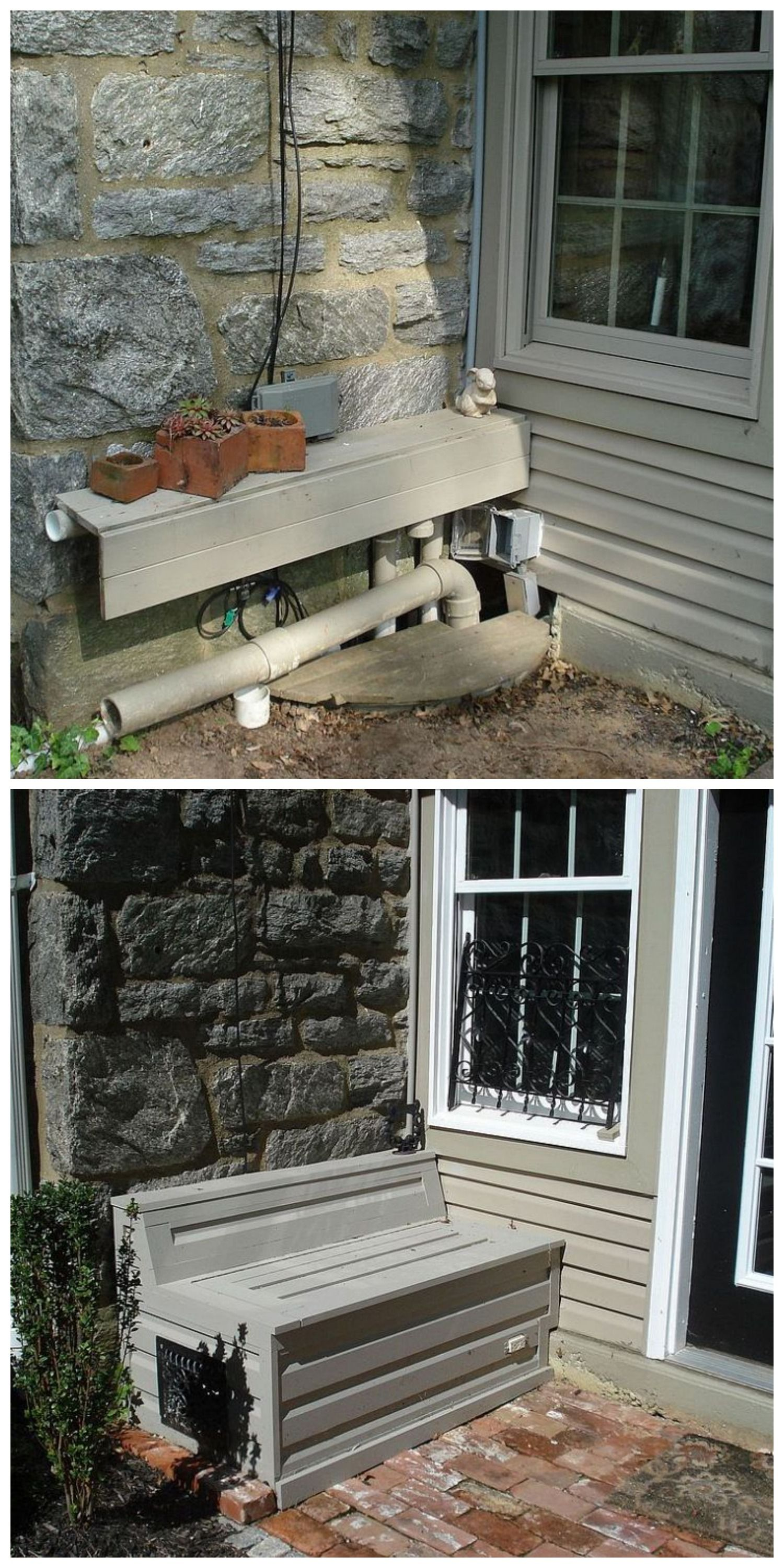 a clever way to cover up ugly pipe wires build a bench adds to curbappeal too  [ 1500 x 3000 Pixel ]