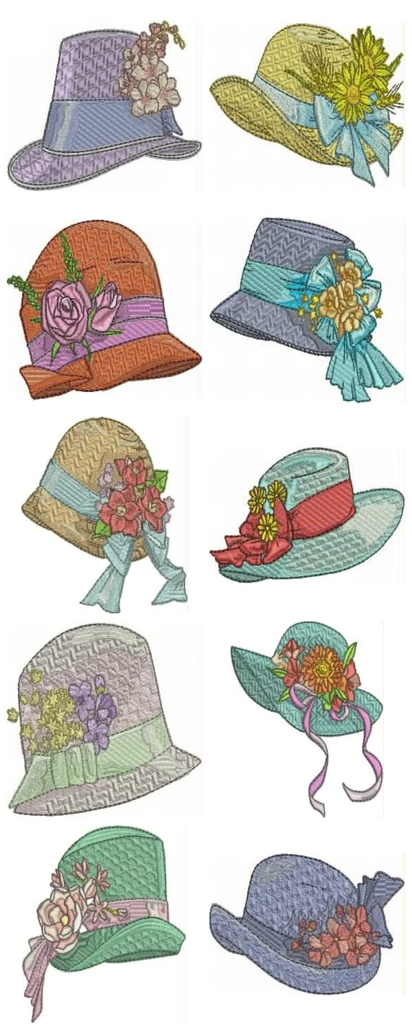 very detailed hats for the hat fancier please repin would look