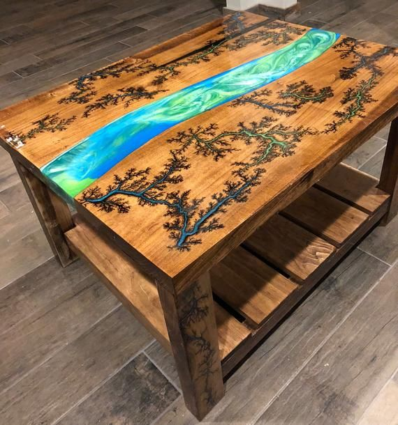 Fractal Burn River Coffee Table Wood Resin Table Epoxy Wood Table Resin Furniture