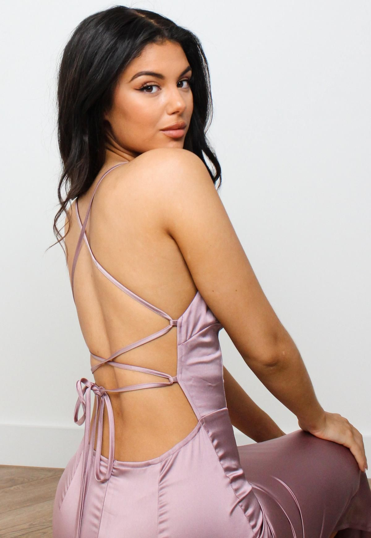 Mauve Satin Strappy Back Maxi Dress Missguided Trending Dresses Clothing For Tall Women Tall Maxi Dress [ 1739 x 1200 Pixel ]