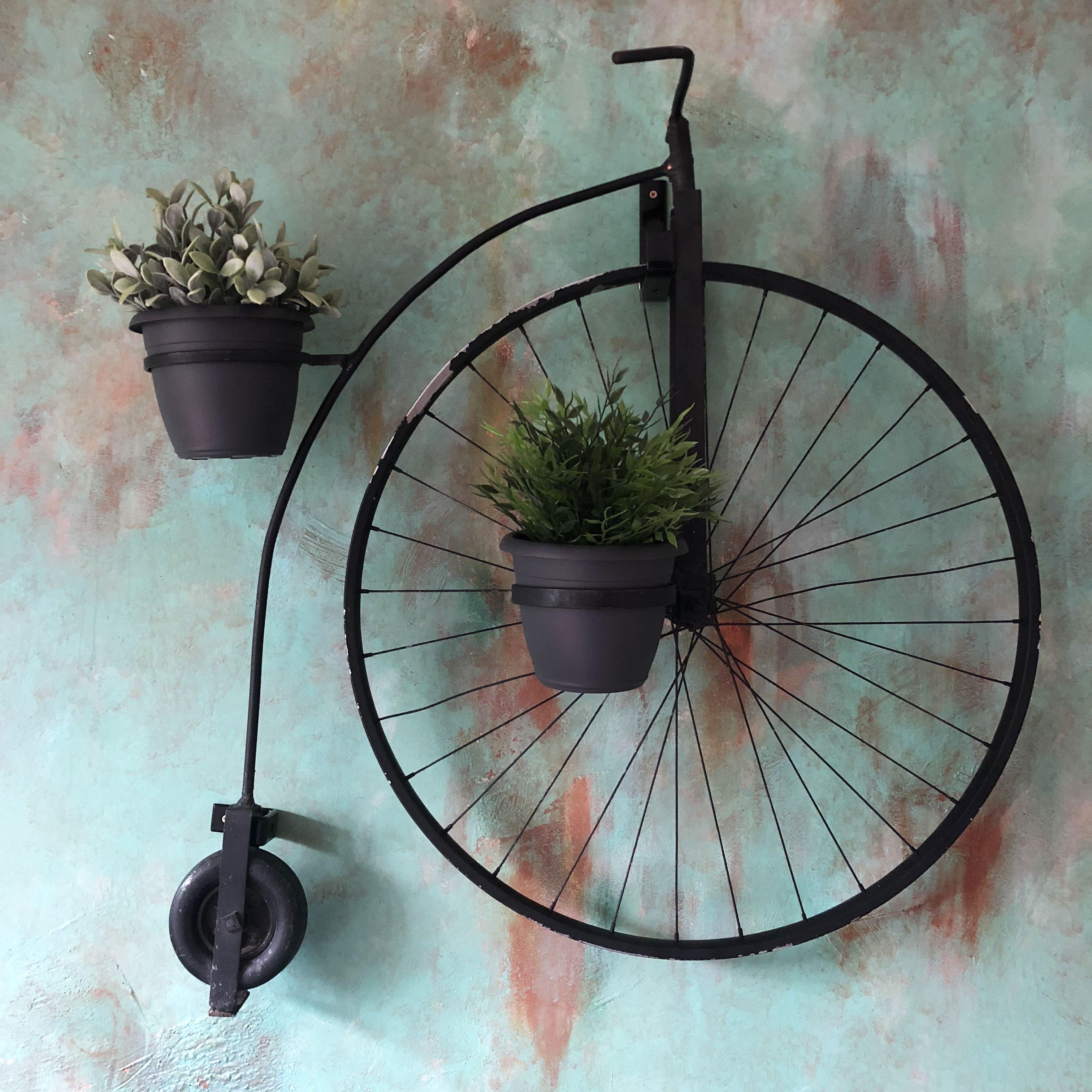 Penny Farthing Bicycle Planter On A Diy Faux Copper Patina Wall