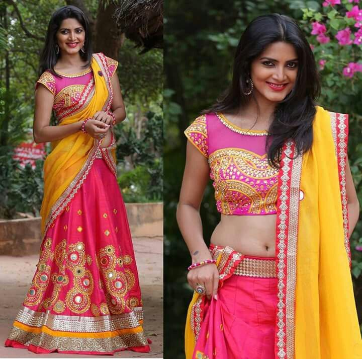 Pink Boat neck blouse half saree   Half