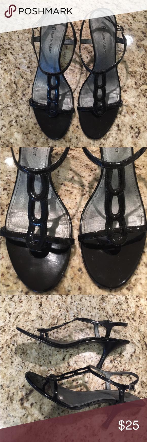 """Etienne Aigner Sandals Etienne Aigner black patent sandals. Great shape! 3 1/2"""" heel. Silver buckle. Etienne Aigner Shoes Sandals"""