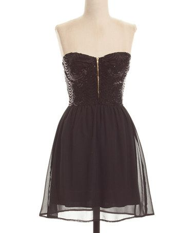 5fe7cea1a4ca Another great find on  zulily! Black Sequin Strapless Dress  zulilyfinds