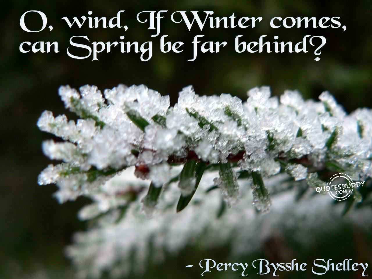 Percy bysshe shelley quotes quotesgram - O Wind If Winter Comes Can Spring Be Far Behind Percy Bysshe Shelley My All Time Favourite Line From A Poem