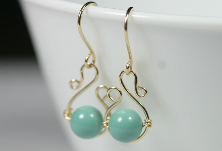 images of wire wrapped jewelry | wire wrapped jewelry pictures | Green Turquoise Earrings Wire Wrapped ...