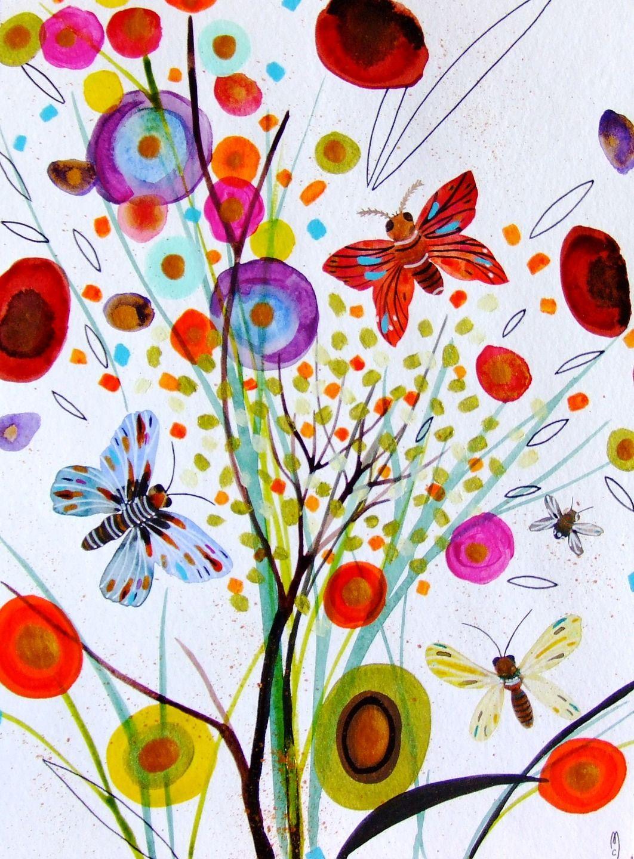 Fleurs papillons bouquet botanique d cor art contemporain - Dessin de fleur en couleur ...