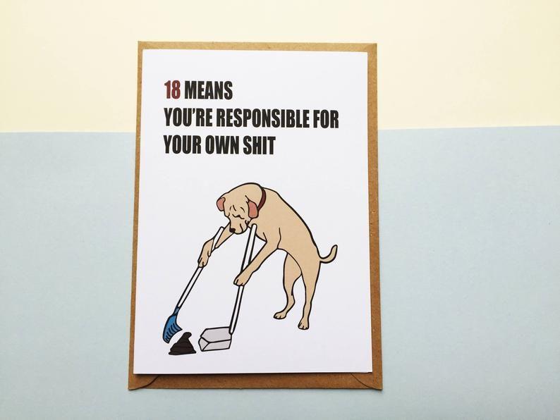 18 Birthday Card 18th Birthday Card Funny Birthday Card Etsy 18th Birthday Cards Funny Birthday Cards Birthday Cards For Boys