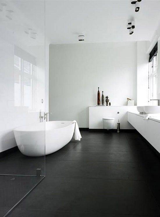 Zwart wit minimalistische badkamer | แต่งบ้าน | Pinterest ...